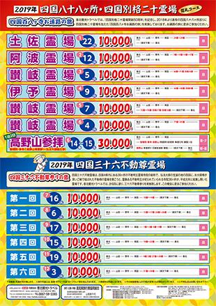 2019年新春香北観光ツアー(裏) 四国八十八ヶ所巡礼コース